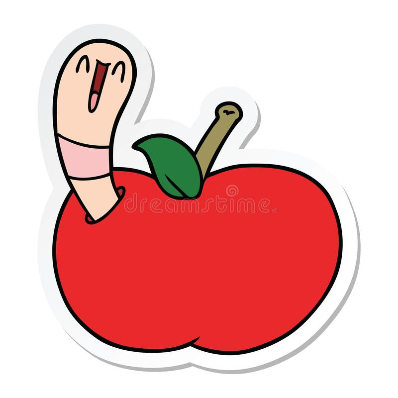 sticker of a cartoon worm in apple royalty free illustration