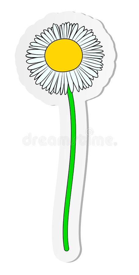 Sticker of chamomile daisy flower in flat cartoon style isolated on white background royalty free illustration