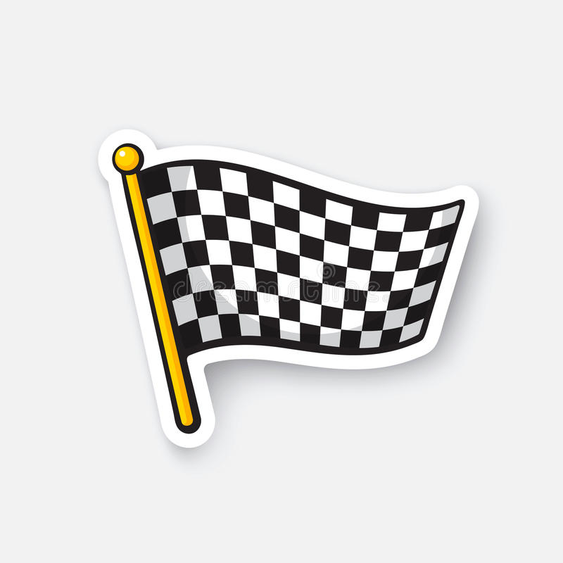 Sticker chequered racing flag on flagstaff vector illustration