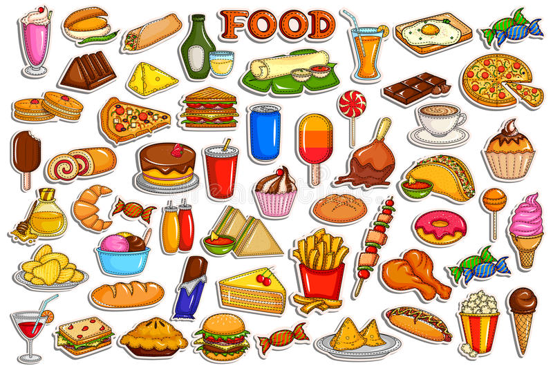 Sticker collection for food and beverage object stock illustration