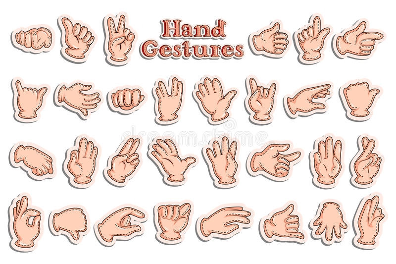 Sticker collection for hand gestures royalty free illustration