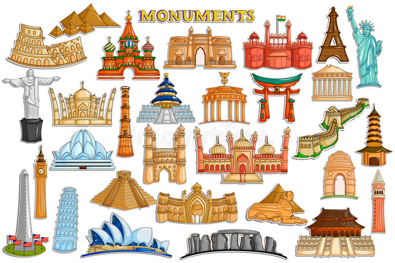 Sticker collection for world famous monument and building stock illustration