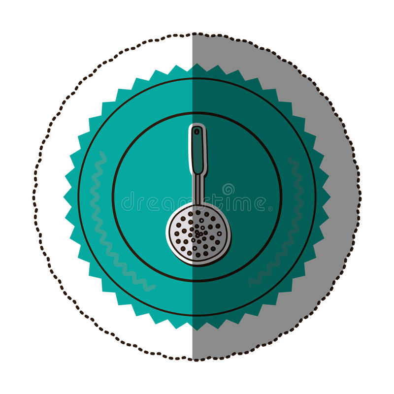 Sticker color round frame with frying spoon. Illustration royalty free illustration
