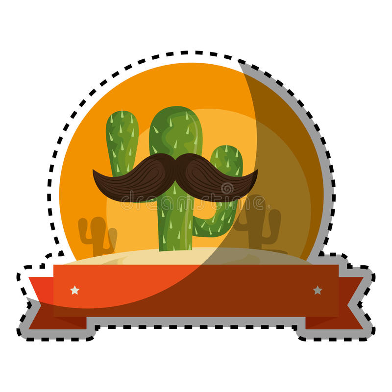 Sticker colorful background with animated sketch cactus with ribbon royalty free illustration