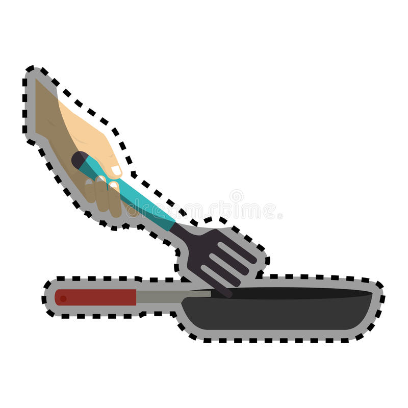 Sticker colorful set frying pan with fork. Vector illustration royalty free illustration