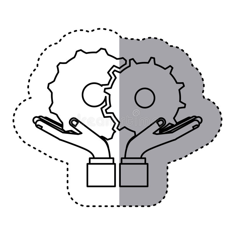 Sticker contour of hands holding a gear wheel icon. Vector illustration stock illustration