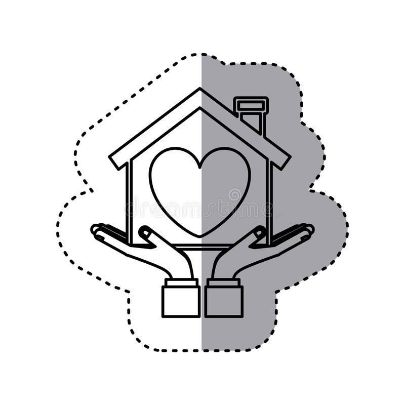 Sticker contour of hands holding a house with heart inside. Vector illustration vector illustration