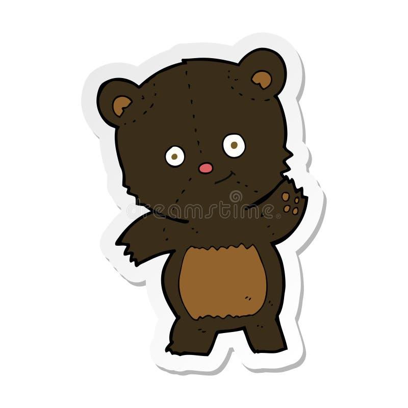 sticker of a cute black bear cartoon royalty free stock photos