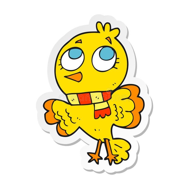 Sticker of a cute cartoon bird. A creative sticker of a cute cartoon bird royalty free illustration
