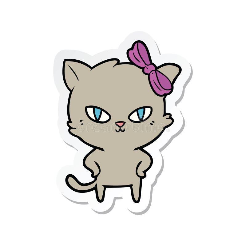 sticker of a cute cartoon cat stock illustration