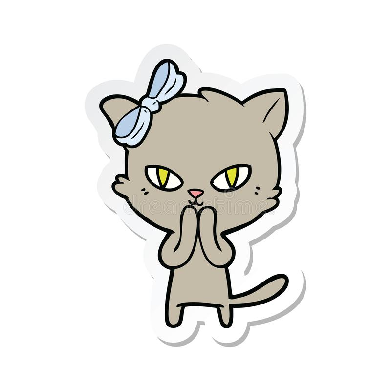 sticker of a cute cartoon cat royalty free illustration