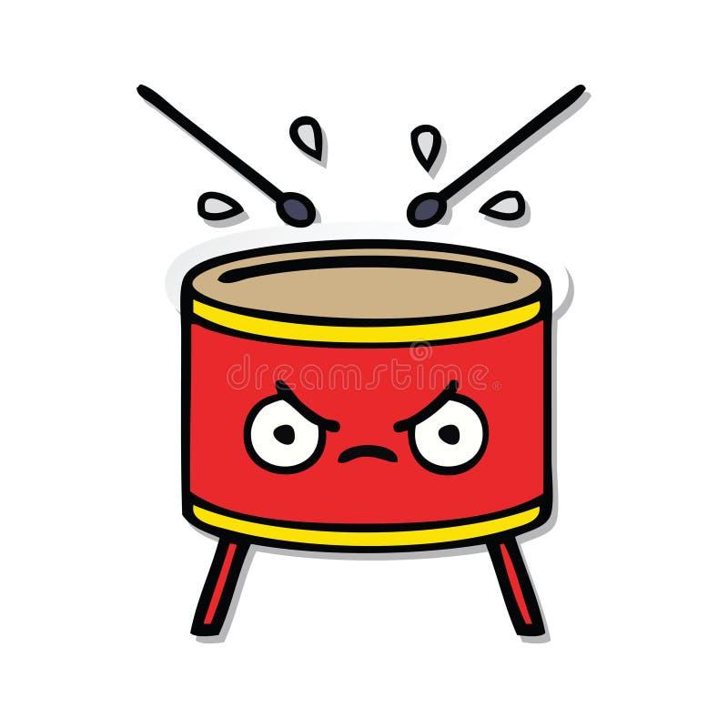 sticker of a cute cartoon drum vector illustration