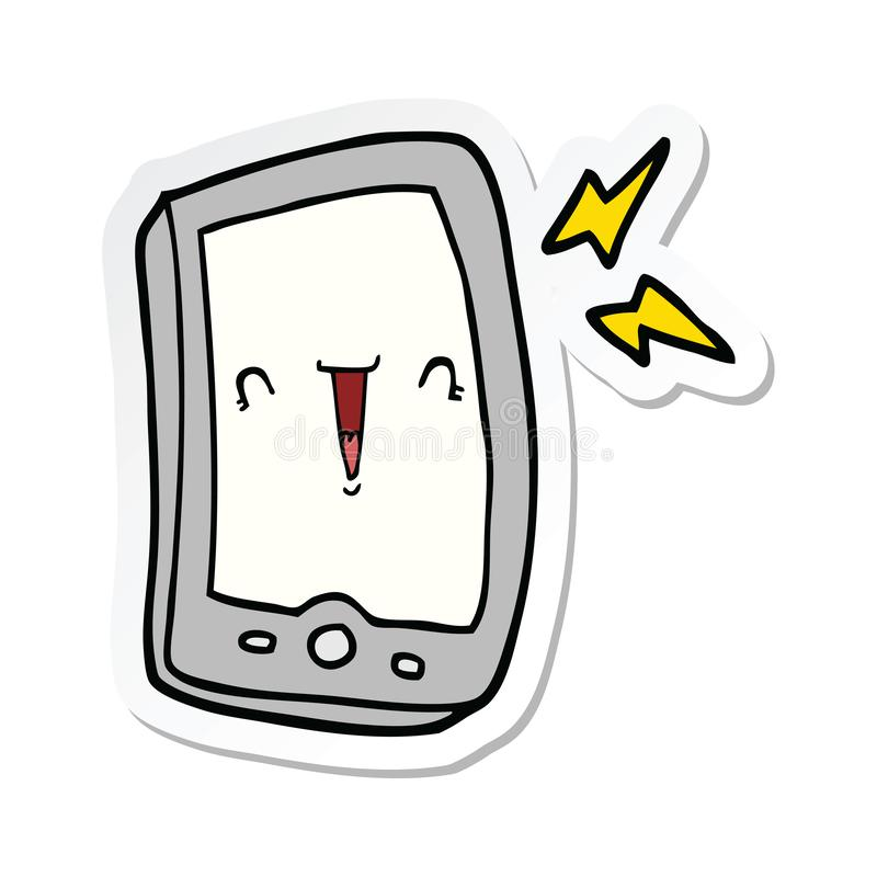 sticker of a cute cartoon mobile phone stock illustration