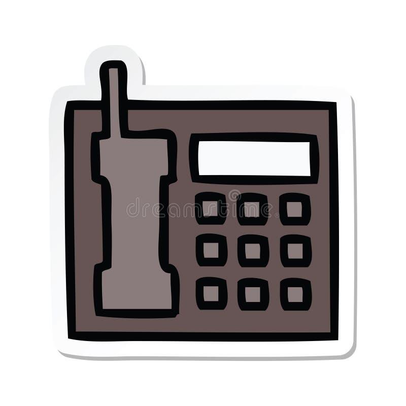 Sticker of a cute cartoon office telephone. A creative illustrated sticker of a cute cartoon office telephone stock illustration