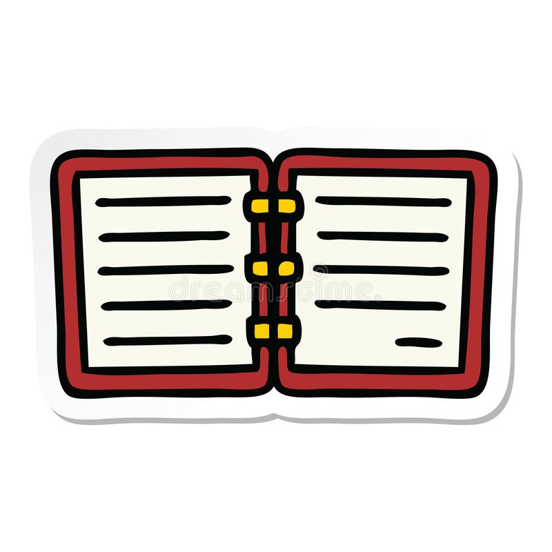 Sticker of a cute cartoon open diary. A creative illustrated sticker of a cute cartoon open diary vector illustration