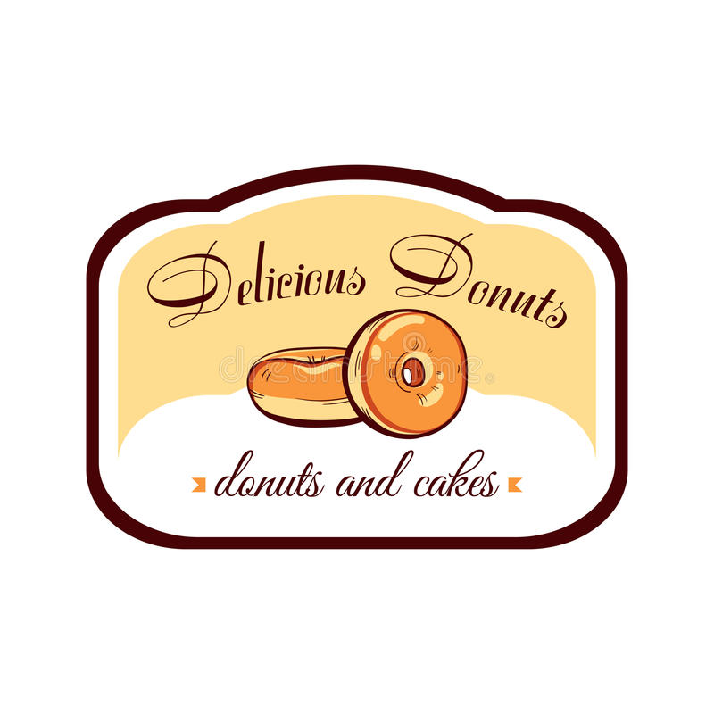 Sticker Delicious Donuts vector illustration