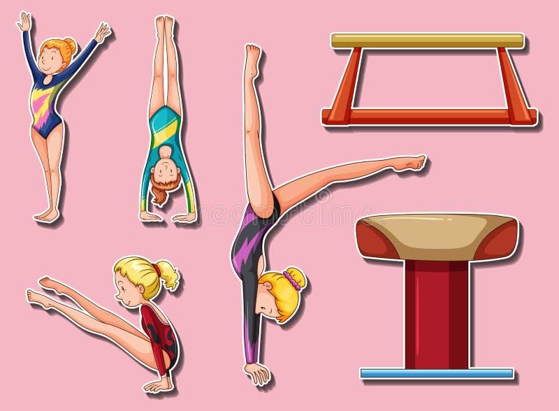 Sticker design for gymnastic players and bars. Illustration stock illustration