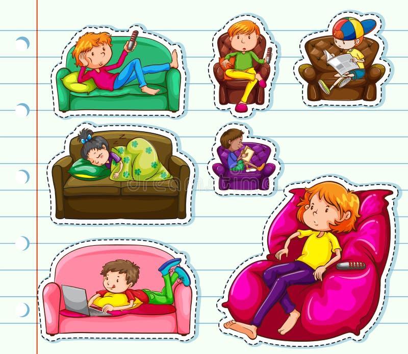 Sticker design with people on sofa. Illustration vector illustration