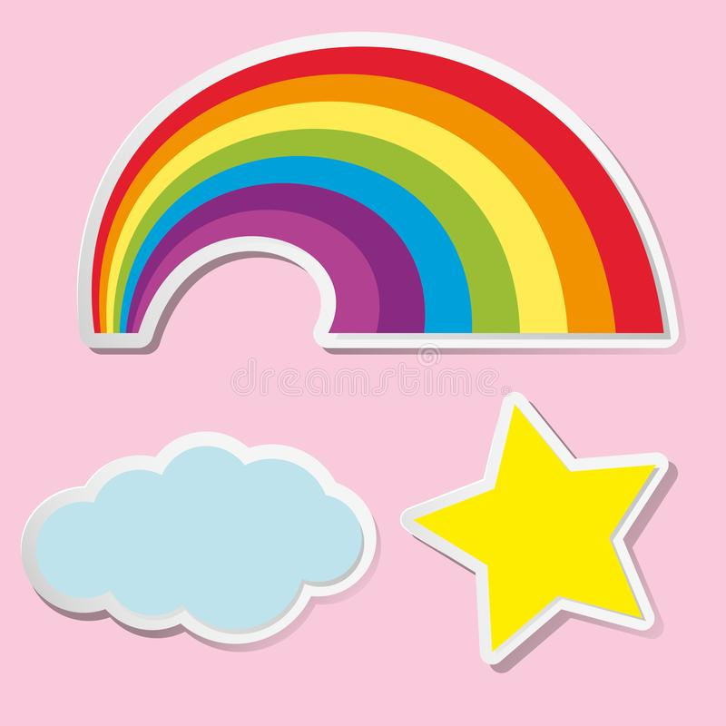 Download sticker design for rainbow and cloud stock vector illustration of clip icons