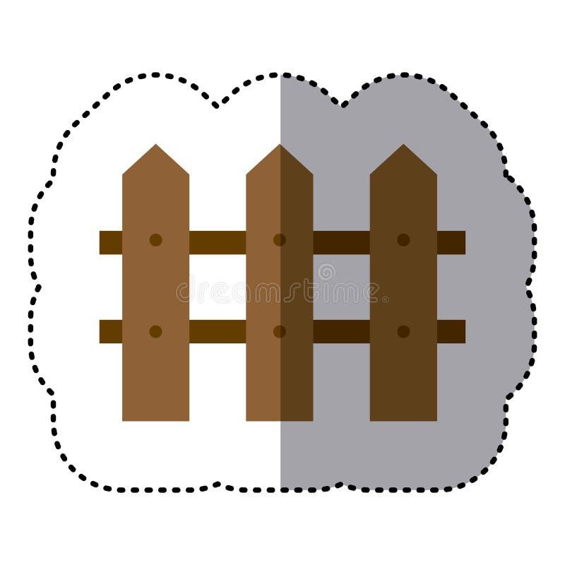 sticker die het kleurrijke ontwerp van de beeld houten omheining in de schaduw stellen stock illustratie