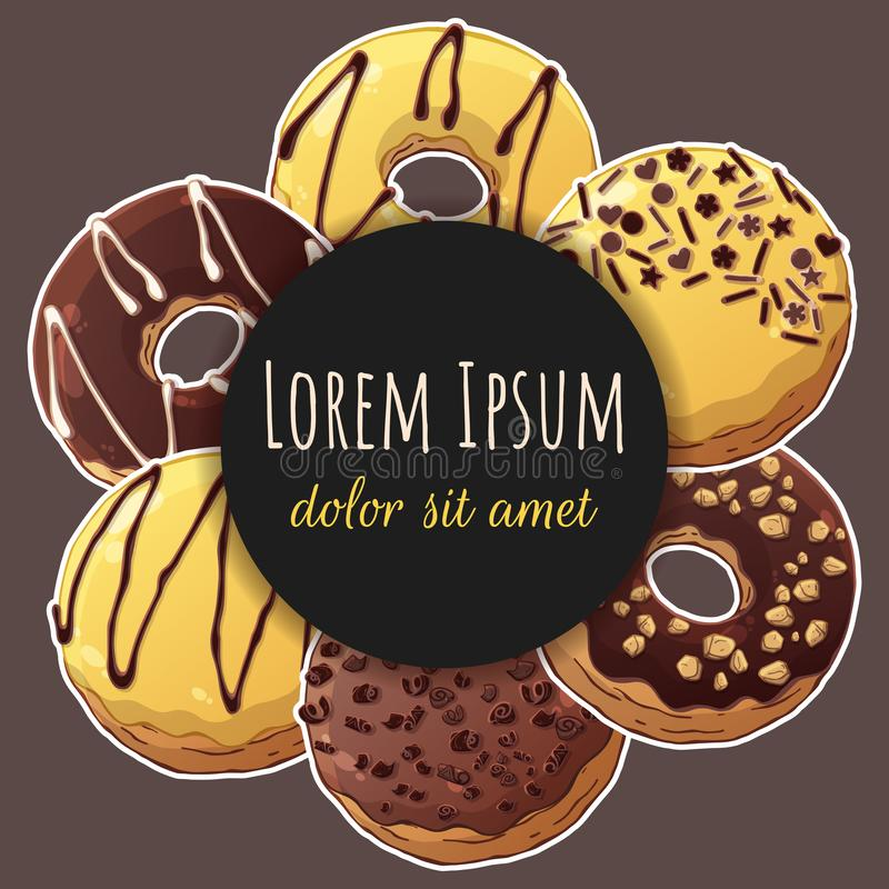 Sticker donuts vector illustration