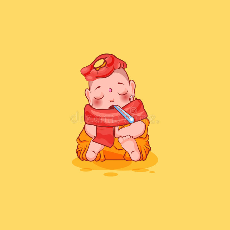 Sticker emoji emoticon emotion vector isolated illustration unhappy character cartoon Buddha sick with thermometer stock illustration