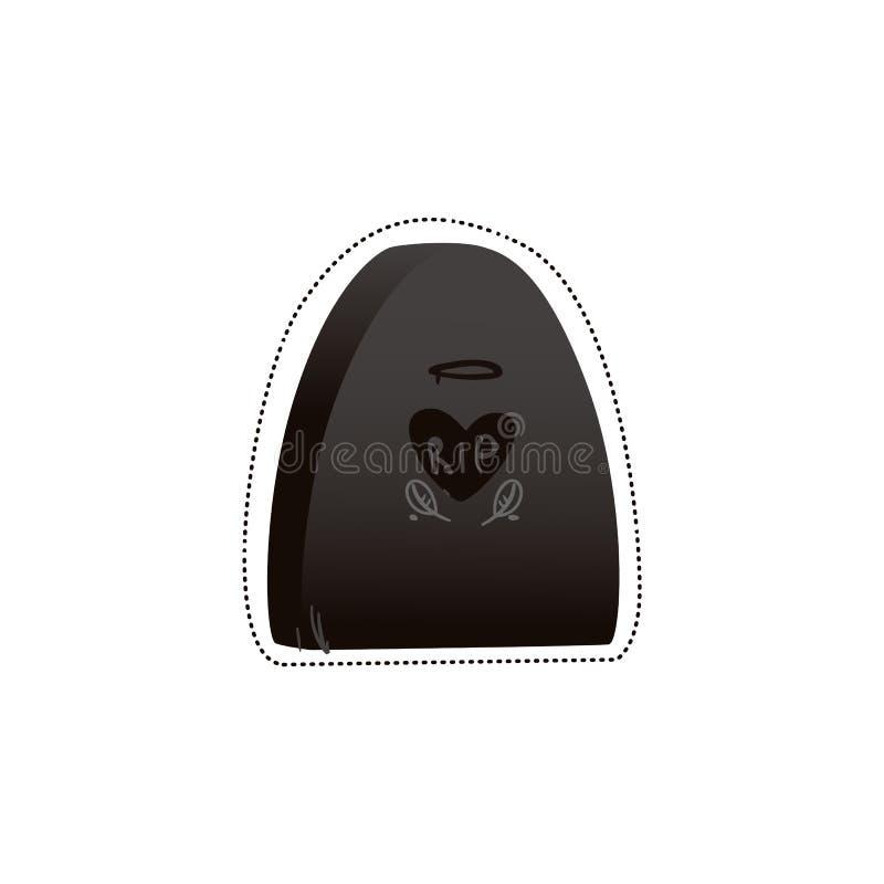 Sticker en pictogram van een zwarte gotische grafsteen en een grafzerk met een hart stock illustratie
