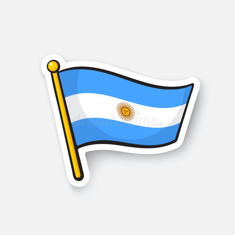 Download sticker flag of argentina on flagstaff stock vector illustration of location graphic