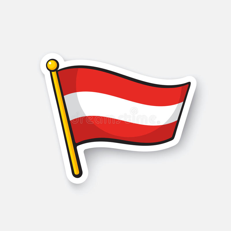 Download sticker flag of austria on flagstaff stock vector illustration of icon europe