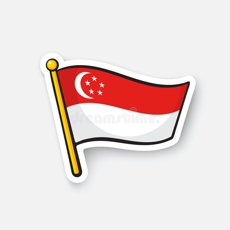 Download sticker flag of singapore on flagstaff stock vector illustration of element picture