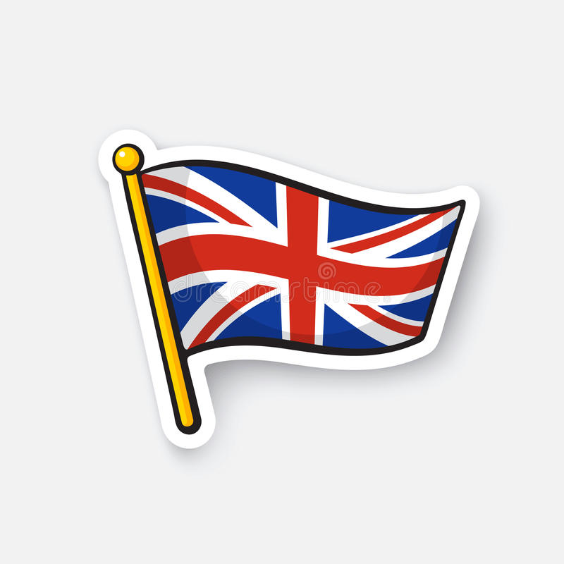 Sticker flag of the United Kingdom on flagstaff. Vector illustration. Flag of the United Kingdom. Location symbol for travelers. Cartoon sticker with contour stock illustration