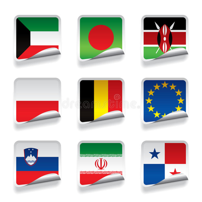Sticker Flags Royalty Free Stock Image