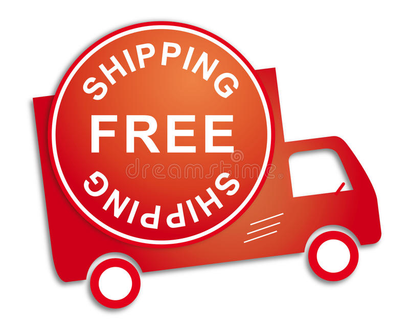 Sticker free shipping red truck vector illustration