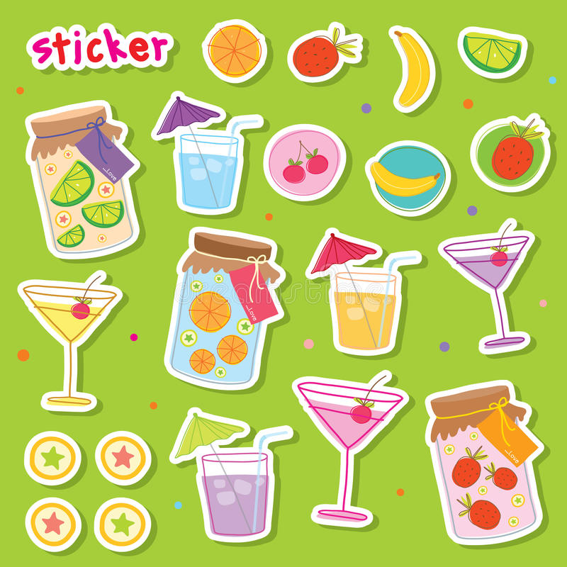 Sticker Fruit Juice Drink Cocktail Fresh Cute cartoon Design Vector royalty free illustration