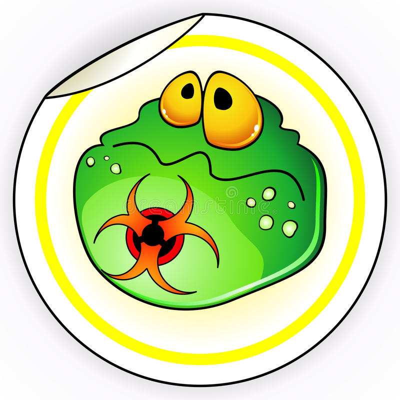 Download Sticker with germ stock vector. Image of microbiology - 18860907