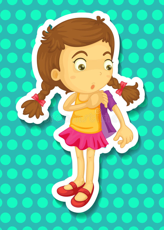 Sticker of girl wearing jacket stock illustration