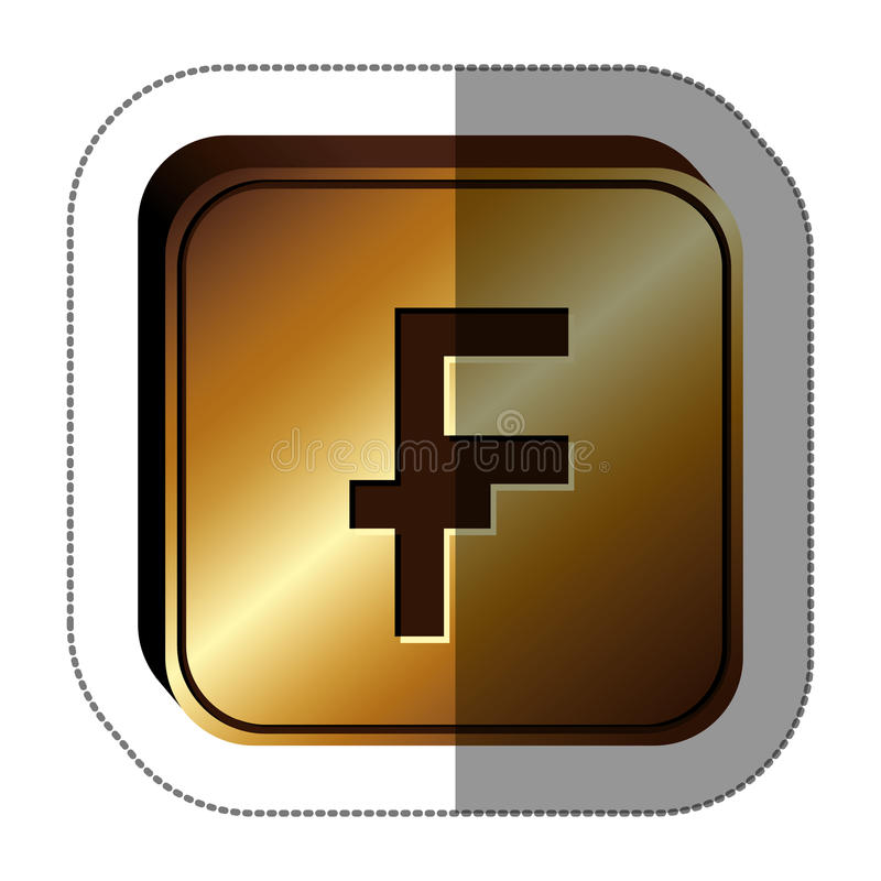 Sticker Golden Square With Currency Symbol Of Frank French And