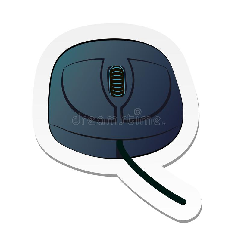 Sticker of grey computer mouse with wheel and short wire in flat cartoon style isolated on white background. Vector illustration, sticker of grey computer mouse vector illustration