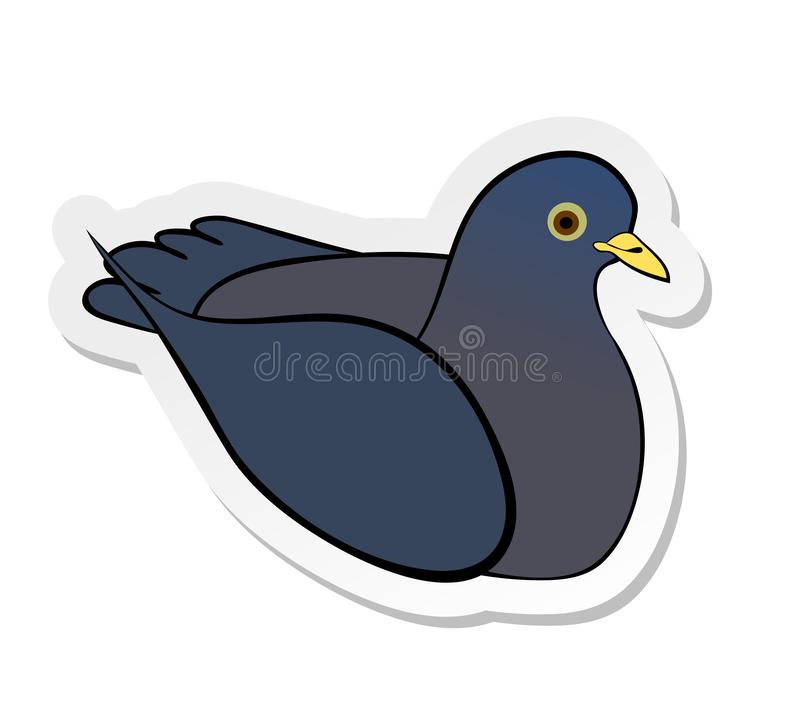 Sticker of grey pigeon in flat cartoon style isolated on white background stock illustration