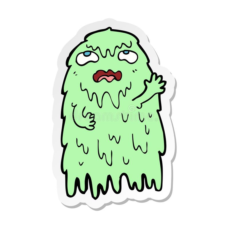 sticker of a gross cartoon ghost stock illustration