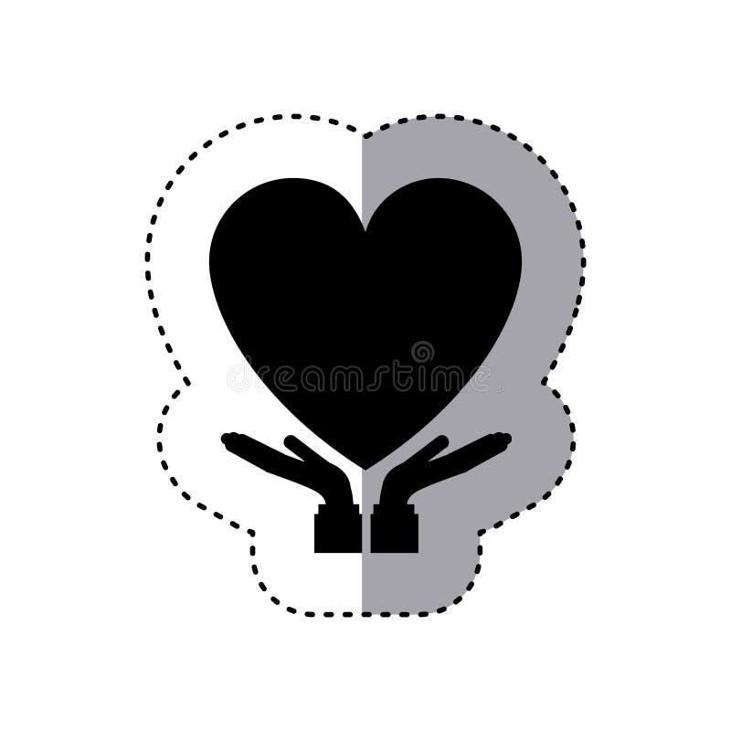 Sticker of hands holding a heart. Vector illustration stock illustration