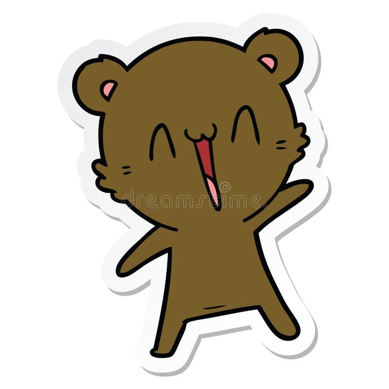 Sticker of a happy bear cartoon. A creative sticker of a happy bear cartoon vector illustration