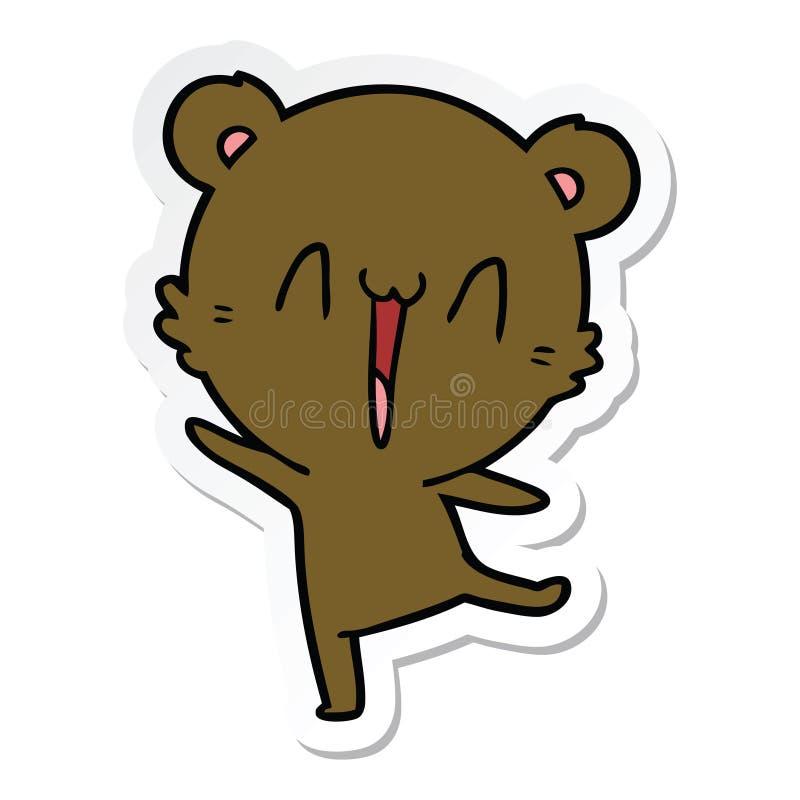 Sticker of a happy bear cartoon. A creative sticker of a happy bear cartoon royalty free illustration