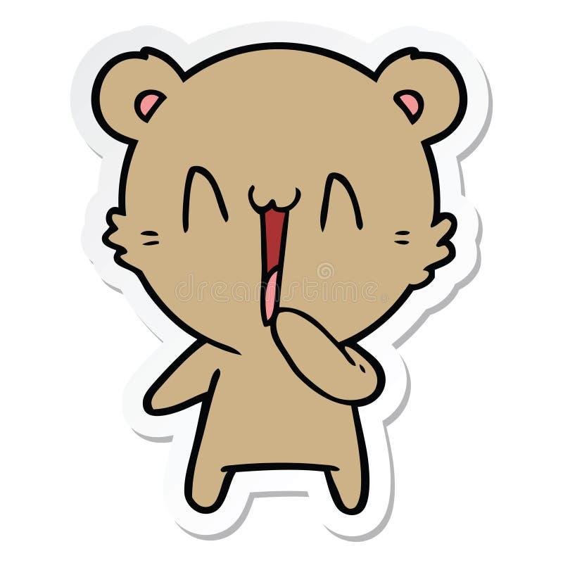 Sticker of a happy bear cartoon. A creative illustrated sticker of a happy bear cartoon royalty free illustration
