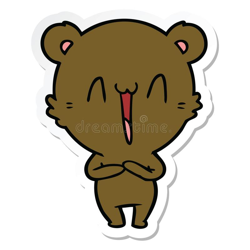 Sticker of a happy bear cartoon. A creative illustrated sticker of a happy bear cartoon stock illustration