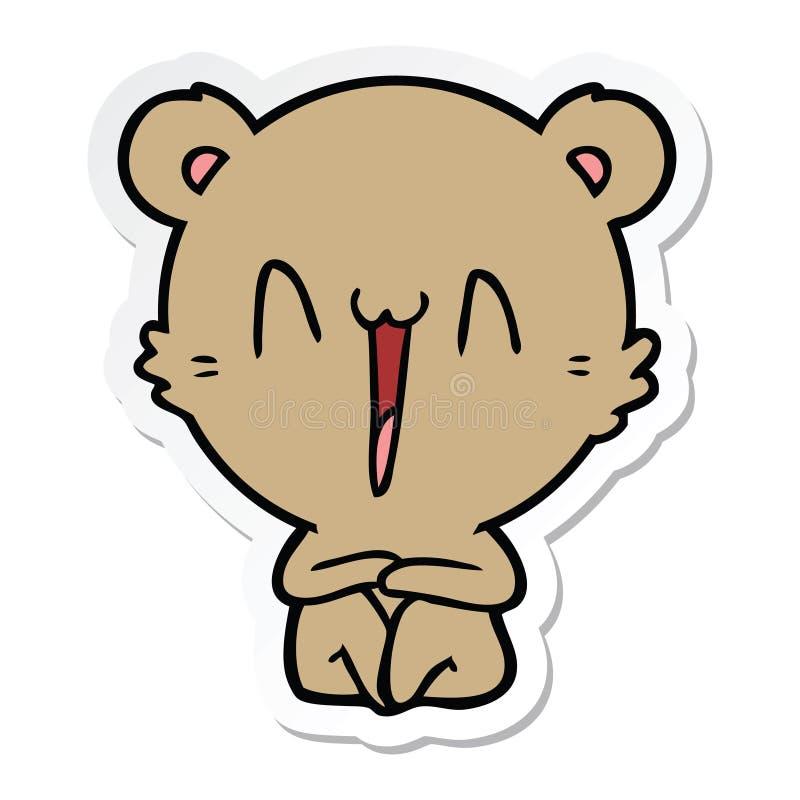 Sticker of a happy bear sitting cartoon. A creative sticker of a happy bear sitting cartoon vector illustration