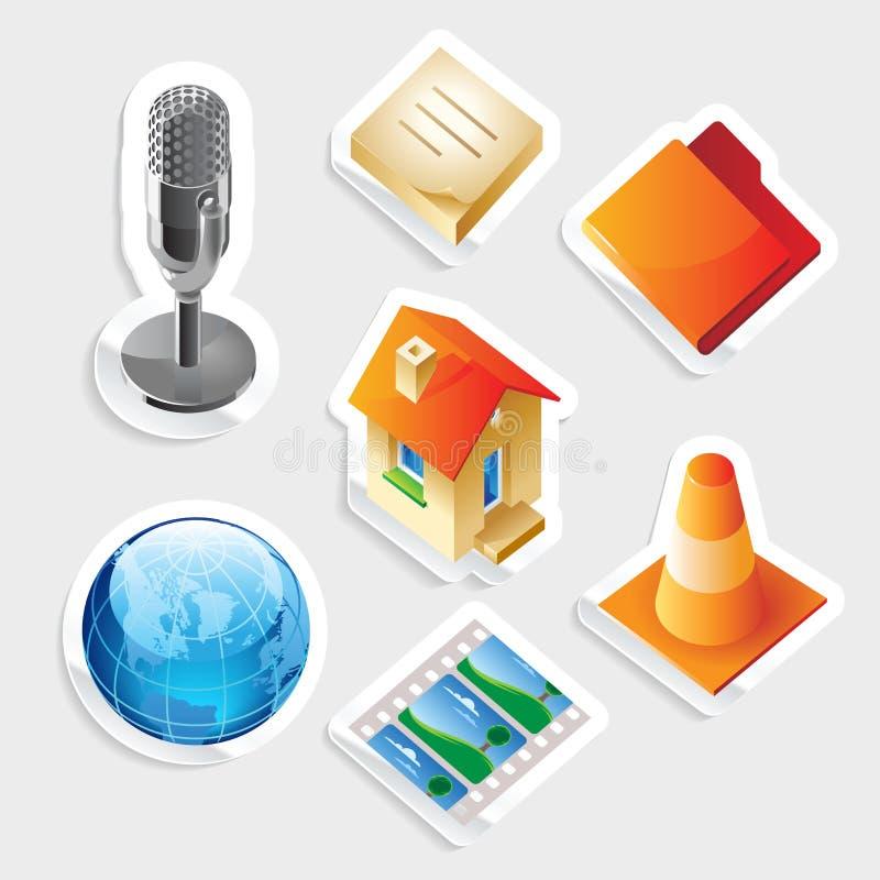 Sticker Icon Set For Interface Stock Photo