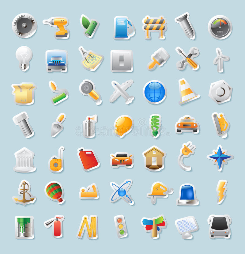 Sticker icons for industry stock illustration