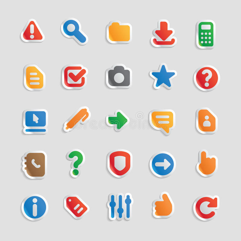 Sticker icons for interface. Sticker button set. Icons for program and website interface. Vector illustration stock illustration
