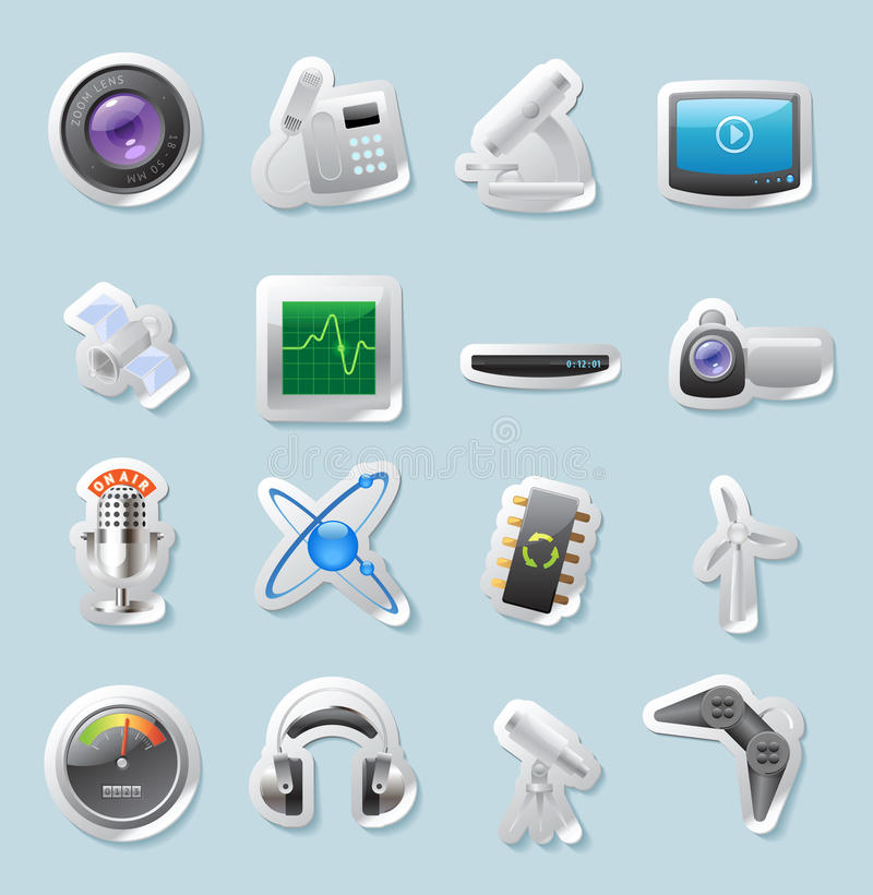 Sticker icons for technology and devices. Sticker button set. Icons for technology and devices. Vector illustration vector illustration